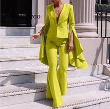 Women Elegant Suits Trouser Split  Long Sleeve Blazer and Pants Suits Fashion Solid Irregular Two Piece Suits