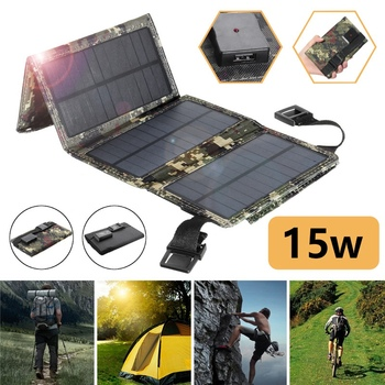 15W 5V 2A Sun Power Usb Foldable Solar Panel Camping Hiking Phone Charger-Black 3