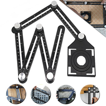 Aluminum Alloy Six Fold Ruler Tile Opening Locator Mud Tile Shop Paste Floor Tile Glass Vientiane Universal Hole Punch Protractors     -