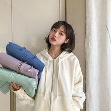 4 Color Solid Color Women Hoodies Coat With Zipper Fleece Vi