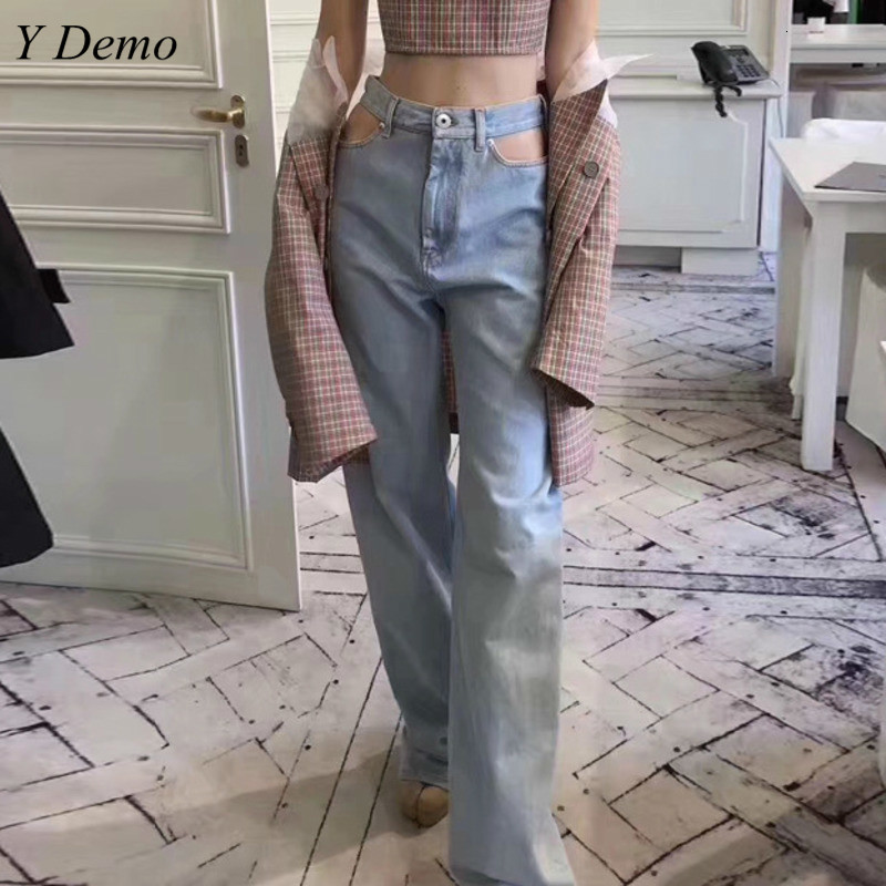 Sexy   Wide     Leg     Pants   Women High Waist Vintage Side Hollow Out Denim   Pants