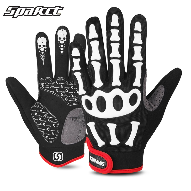 Skull Bicycle Gloves Silicone Full Finger Gel Shockproof Breathable Cycling Bike