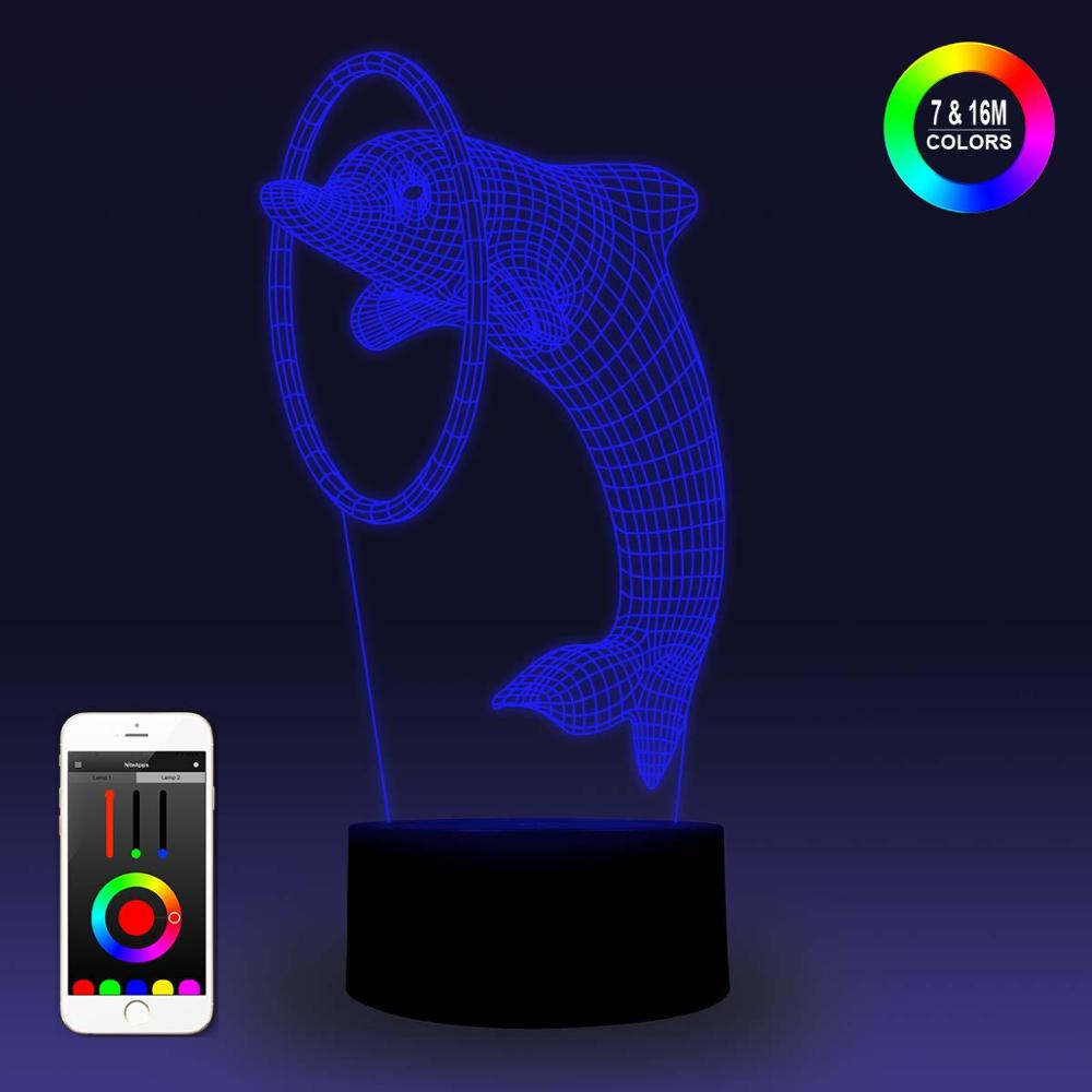 NiteApps 3D Jumping Dolphin Night Light Desk Table Illusion Decoration Lamp Holiday Birthday Gift APP/Touch Control