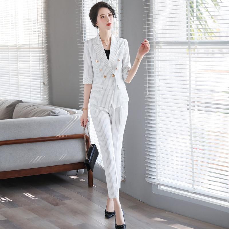 Spring 2020 Professional Women's Pants Suit Feminine Casual Striped Elegant Ladies Blazer Jacket Stylish Office Set High Quality