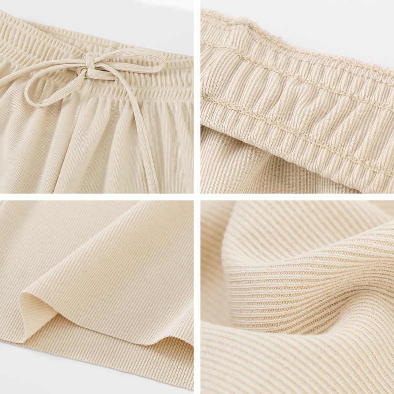 2020 estate Casual Pantaloni Diritti Delle Donne Beige Elastico In Vita In Maglia Pantaloni Larghi del Piedino di Modo Pantaloni Allentati Dei Pantaloni di Base di Lunghezza Della Caviglia Pantaloni
