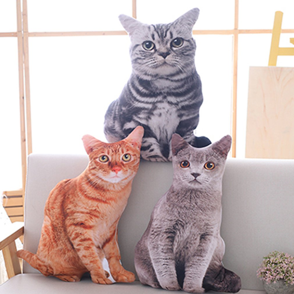 50cm 3D Simulation Plush Cat Pillows Cute Cat Soft Stuffed Animals Cushion Sofa Decor Cartoon Plush Toys For Children Kids Gift