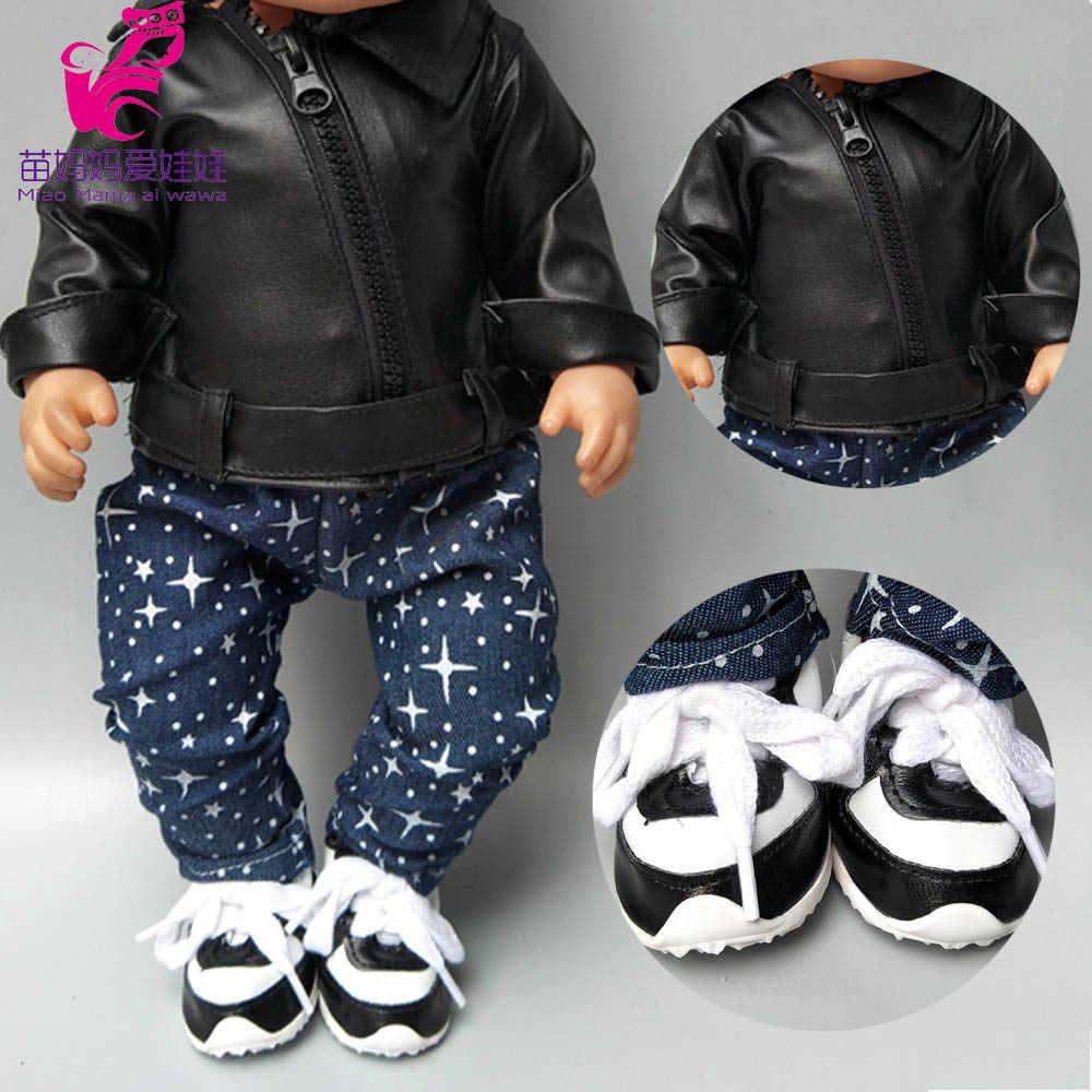 Oyuncak bebek giysileri için 43cm doğmuş bebek bebek giysileri siyah PU deri bebek ceket 40cm bebek bebek aksesuarları
