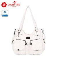 Fashion Skin friendly 2 Top Zippers Multi Pockets Purses Washed PU Leather Tote Bags Shoulder Women Handbags