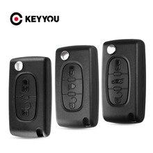 KEYYOU-funda plegable para llave de coche, carcasa con tapa remota de 3/2 botones para Peugeot 206, 407, 307, sw 607, Citroen C2, C3, C4, C5, C6, berlingo