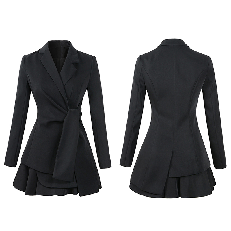 Autumn Notched Solid Casual Office Blazer Skirt Women Two Piece Sets Work Suits Dress 4
