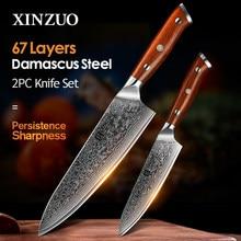 Xinzuo conjunto de facas de cozinha de chef japonês, 2 peças, vg10, aço damasco, facas utilitárias para chef de cozinha com cabo de madeira jacarandá, melhor qualidade ferramentas,
