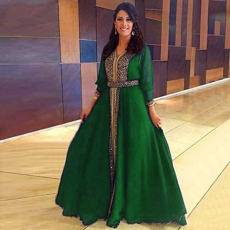 2020 Green/Purple Long Sleeve Evening Dresses Beads Chiffon Arabic Muslim Special Occasion Vestidos De Noche Prom Party Dress