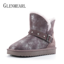 Купить с кэшбэком 100% Genuine Leather Snow Boots Austrialia Classic Women Boots Real Fur Wool Winter Shoes Platfrom Warm Ankle Boots Plus Size DE