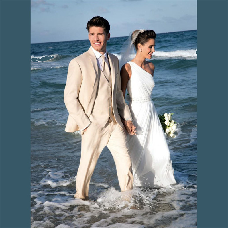 Men Three Piece Party Suits Beige Spring Beach Notched Lapel Groom Wedding Tuxedos Tailor Made Spring (Jacket+Pants+Vest)
