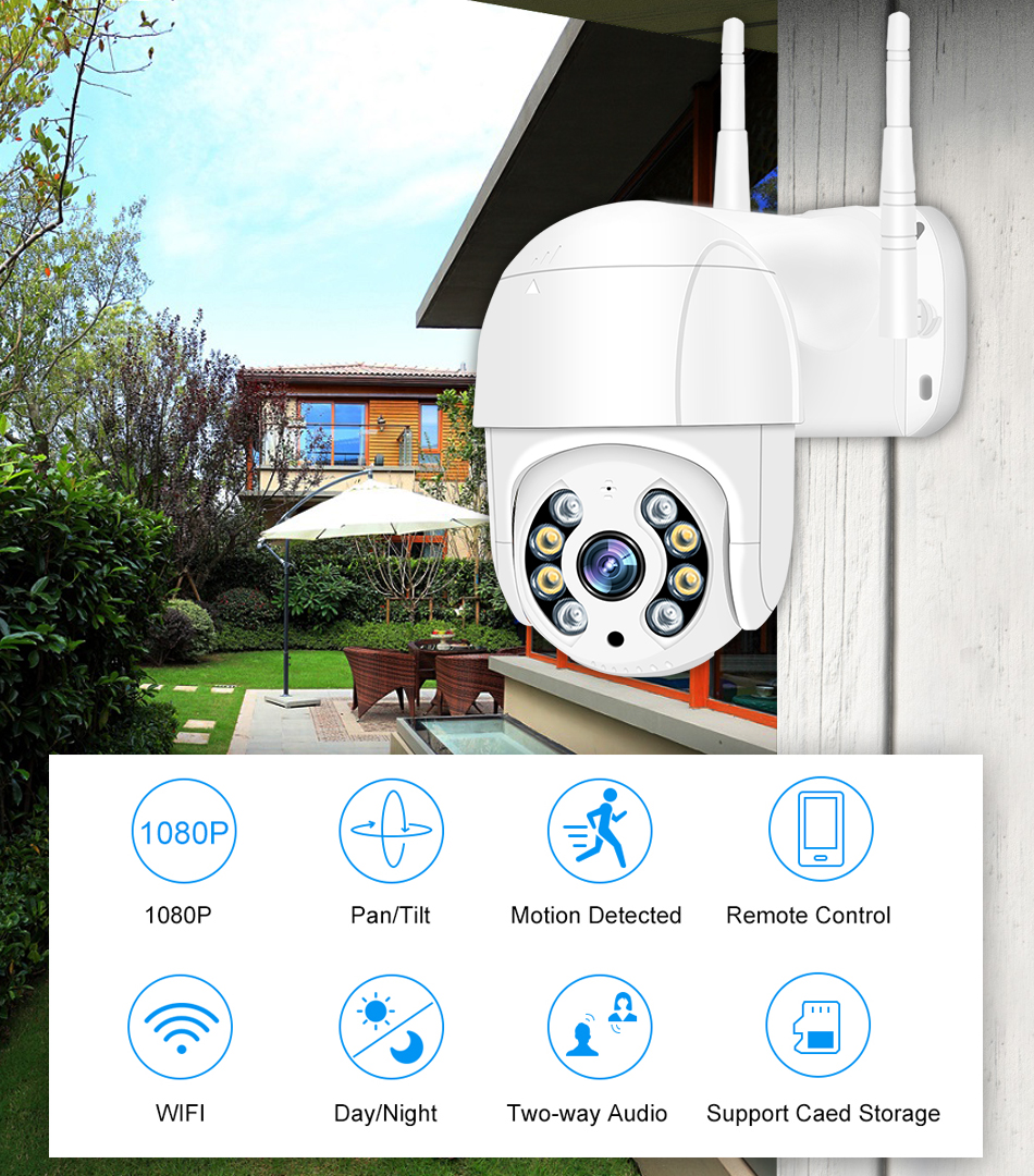 Smar 1080P Outdoor PTZ Wireless IP Camera 4X Digital Zoom Speed Dome Mini WiFi Security CCTV Audio Camera Auto tracking of Human (1)