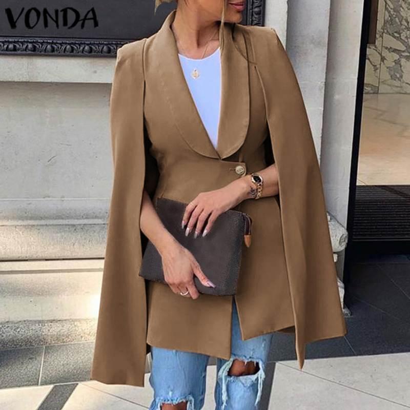 VONDA Vintage Cloak Blazer Women Dress Office Ladies V Neck Shawl Sleeveless Dress Female Solid Celebrity Party Dress Vestidos