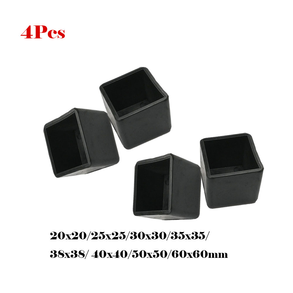 4Pcs Non-slip Black Chair Leg Caps PVC Plastic Floor Protector Pads Round Table Foot Cover Pipe Plugs Furniture Leveling Feet