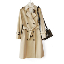 Shuchan Long Trench Coat Windbreaker  Double Breasted Office Lady Turn-down Collar Long Trench Coat Classic Style Tops Fall цены