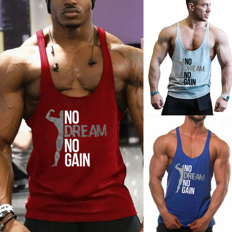 Summer Fashion Men's Leisure Loose Gym Muscle Sleeveless Tee Shirt <font><b>Tank</b></font> <font><b>Top</b></font> Bodybuilding Sport Fitness Vest image