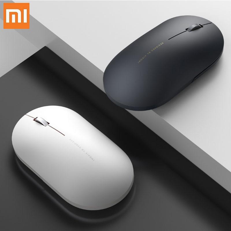 Orijinal Xiaomi kablosuz fare 2 1000DPI 2.4GHz WiFi bağlantısı optik sessiz taşınabilir ışık Mini dizüstü dizüstü bilgisayar ofis oyun fare