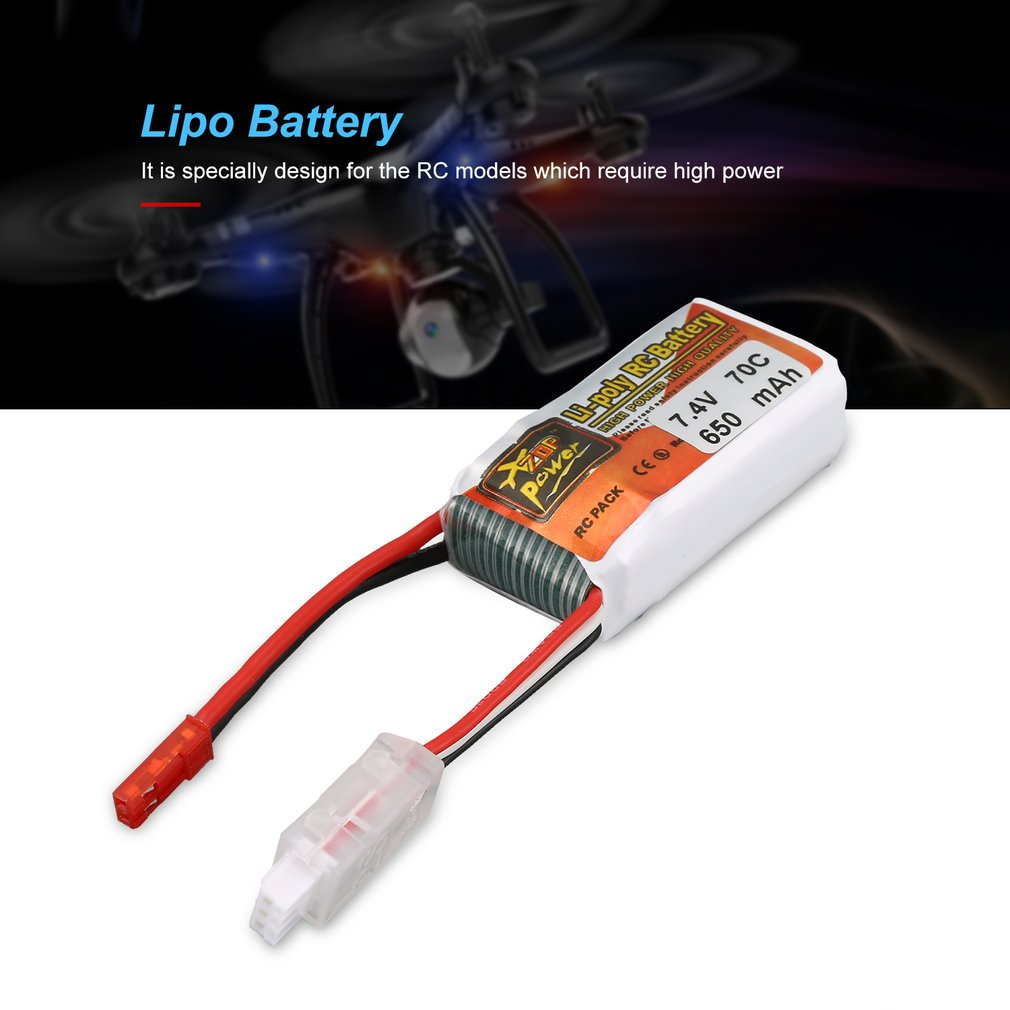 ZOP Power 650MAH 7.4V 70C 2S JST Plug Lipo Battery Rechargeable Battery For RC Racing Drone Aircraft Helicopter Car Boat