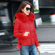 KMVEXO 2019 Hooded With Fur Collar Winter Jacket Women Outwear For Short Female Coat Parka Padded Jaqueta Feminina Inverno