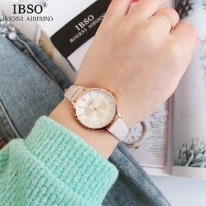 Image 4 - IBSO ماركة 8 مللي متر رقيقة جدا الكوارتز ساعة النساء جلد طبيعي النساء الساعات الفاخرة السيدات ساعة Montre فام