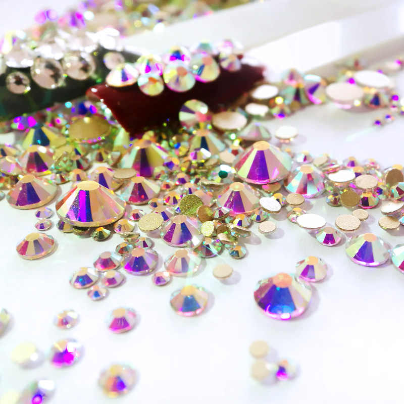 Micro Crystal Flat Back Rhinestones Beads DIY Garments Art Glass Decorations Small Accessories Mix All Sizes Needlework Crafts