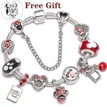 Хрустальные бусины Микки Серебряные болтаются браслет для женщин и детей с красным кристаллом прекрасный браслет ювелирное изделие подарок