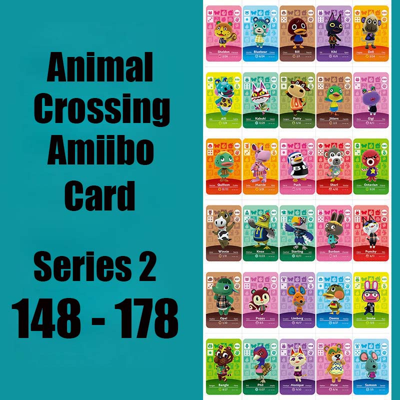 Series 2 #148-178 Animal Crossing Cards Amiibo Card Work For Switch NS 3DS Games Animal Cards 150 Coco 173  Julian 176 Sprinkle