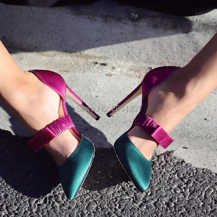 Choudory Heels Women Fuschia Pink and Emerald Green Pumps Lady Shoes Female Satin Comfort Wedding Shoes Women Sandals - 3