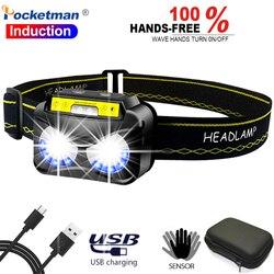Pocketman corps capteur de mouvement phare USB Rechargeable lampe frontale Induction avant torche étanche tête lampe de poche tête torche