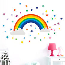 PVC Home Decor Rainbow Sign Sticker Decal Bedroom Vinyl Art Mural(China)