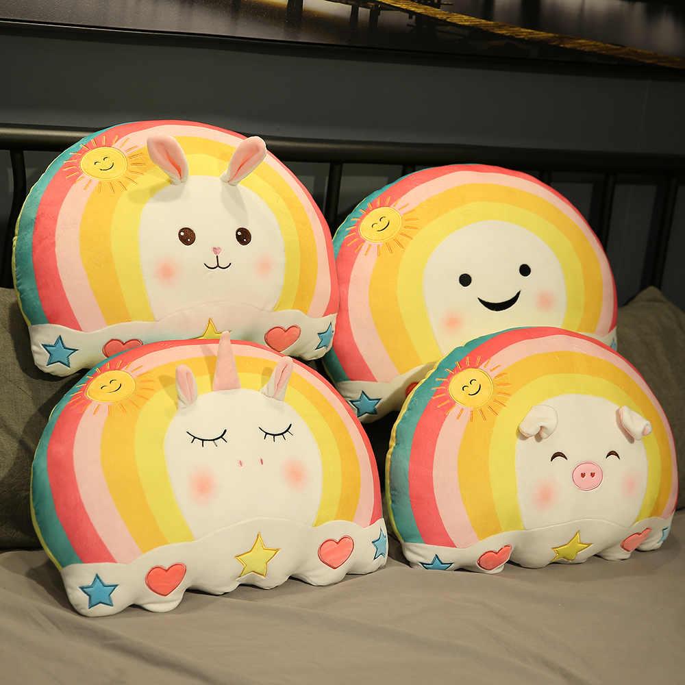 Милая популярная Радужная плюшевая игрушка-подушка с единорогом, единорогом, Кроликом, Свинкой, мягкими мультяшными животными, смайликами, набивная кукла, кровать, Спящая Подушка