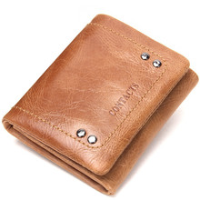 GROJITOO genuine leather men's wallet rivet decorative cowhide men's wallet  multi-function short wallet  card holder purse