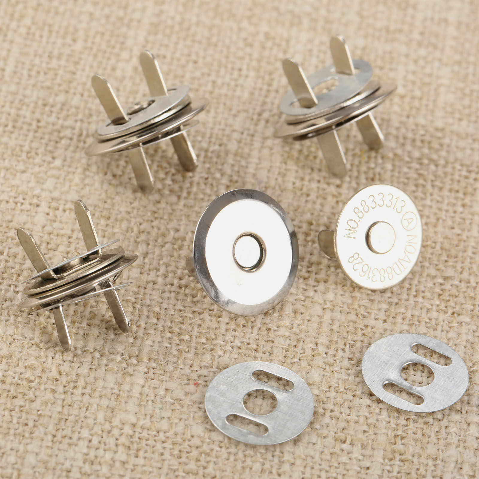 10 Set Metal Magnet Tombol Magnetik Rivet Stud Dompet Snap Gesper Penutupan Gesper Pengikat untuk Tas Tangan Dompet Pakaian 16/ 18 Mm