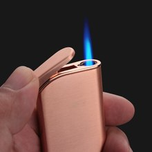 Creative Portable Windproof Inflatable Cigarette Lighter Metal Lighters Ultra-thin Personality Butane Gas