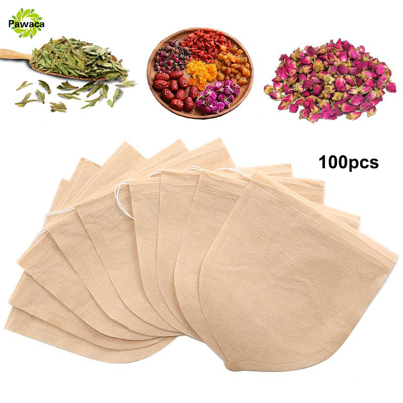 100pcs/Lot Teabags 9.3x8.3cm Empty Scented Tea Bags With String Heal Seal Filter Paper For Herb Loose Bolsas De Te