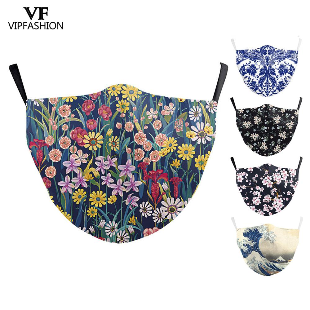 VIP FASHION Women Mask Colorful Floral Printed Reusable Protective Face Mask Anti Flu Bacteria Mouth-muffle Mask Windproof Masks