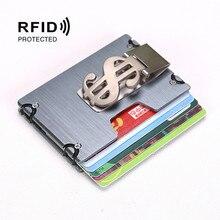 New Fashion Wallets Slim Aluminum Alloy Credit Card Pockets RFID Blocking Metal Money Clips Purse Mini Wallets цены