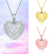 цена на Fashion Angel Wing Pendant Necklace For Women Gold Silver Color Jewelry Female Gift Luxury Crystal Zircon Chain Necklace D5Z087