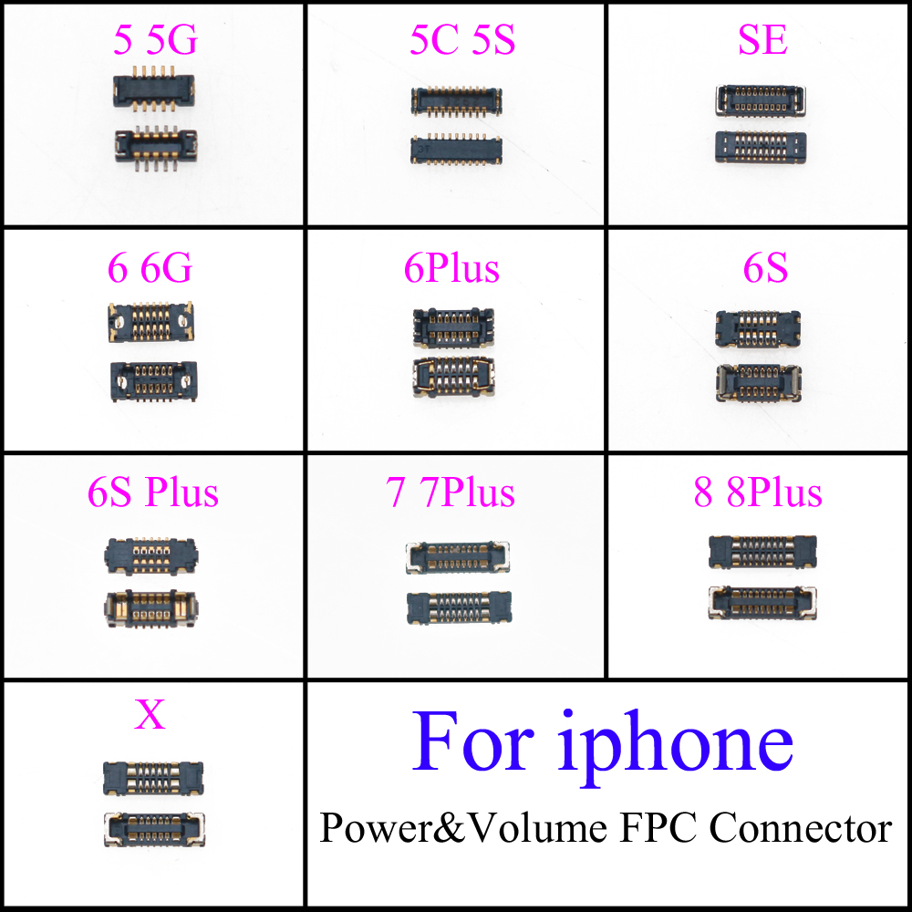 On Motherboard Mainboard Power&Volume FPC Connector Port Dock Plug For IPhone 5 5G SE 5S 5C 6 6G 6P 6S 6SP 7 7Plus 8 8Plus X