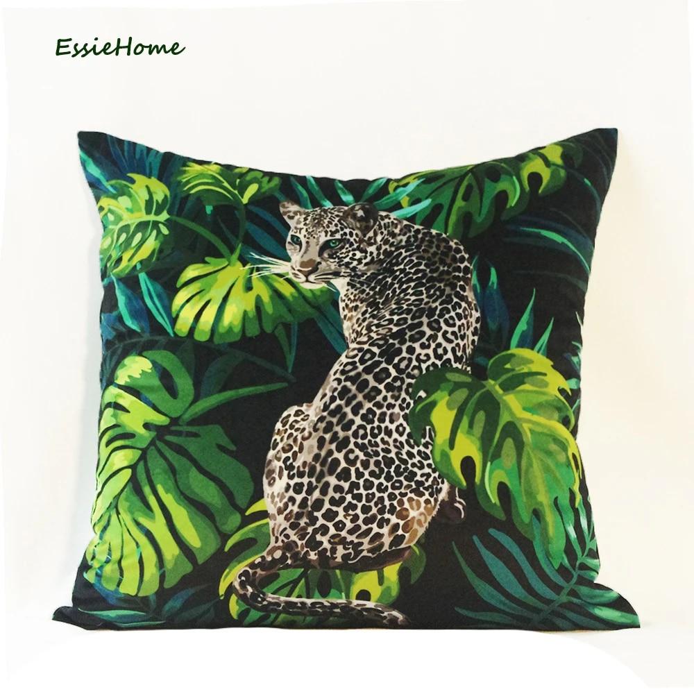 essie home tropical animal pattern snow leopard digital print velvet cushion cover pillow case for living room