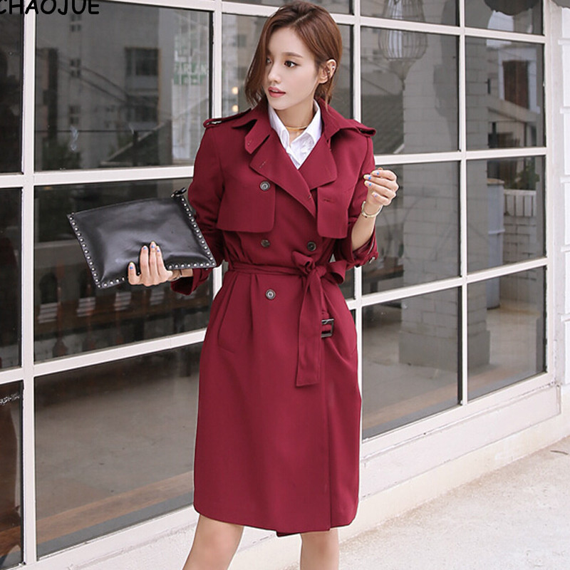 CHAOJUE Brand wine red   trench   female 2018 spring latest slim coat casual double breasted nice pea coat ladies   trench   coat