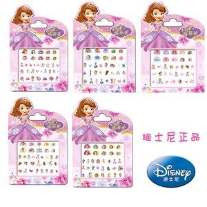 Oryginalne 5 sztuk Disney Sofia pierwsza księżniczka makijaż zabawki paznokci naklejki zabawki Disney Sofia księżniczka dziewczyna naklejki zabawki dla dzieci prezent