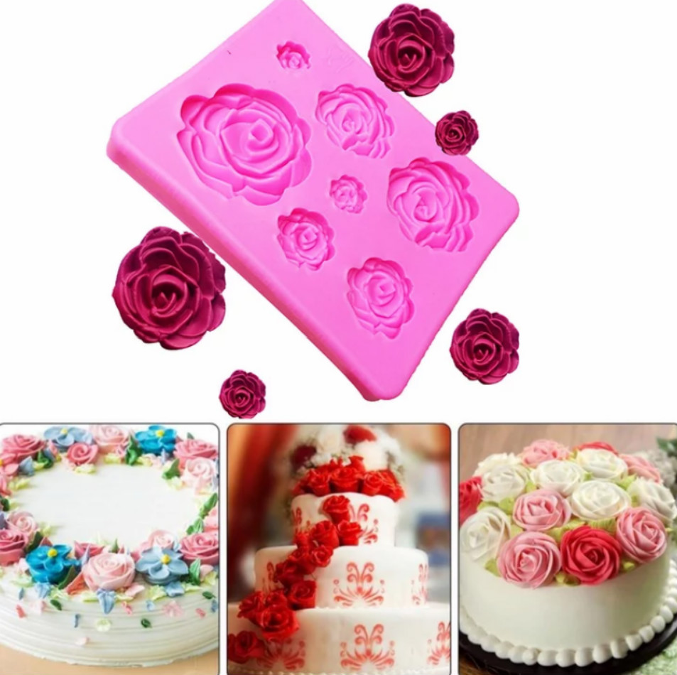 Rose Flower Baking Silicone Mold Birthday Wedding Cake Decorating Tool Pastry Tool Fondant Sugarcraft Mold For DIY Chocolate