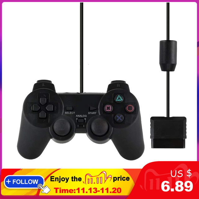 Wired Gamepad עבור Sony PS2 בקר עבור Mando PS2/PS2 ג ויסטיק לפלייסטיישן 2 רטט הלם Joypad Wired Controle