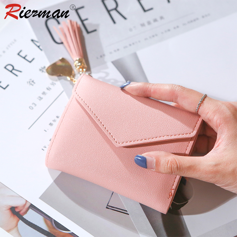 RIEZMAN Wallet Women 2020 New Ladies Short Women Wallets Mini Money Purses Small Fold PU Leather Female Coin Purse Card Holders
