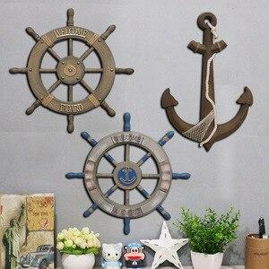 80 см деревянный корабль в средиземноморском стиле, деревянный руля, корабль, якорь, антикварное домашнее украшение, настенное украшение, ви...