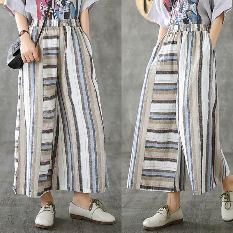 ZANZEA Plus Size Women Straight Pants Casual Striped Trousers Cotton Linen Pantalones Mujer Vintage Autumn Streetwear Sweatpants